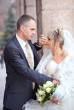 Groom and the bride with a wedding bouquet stand near  column Stock Images