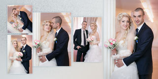 Groom and the bride with a wedding bouquet stand near a white column Stock Photos