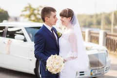 Groom, bride wedding car stock image