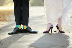 Groom and bride on wedding day. Royalty Free Stock Photography