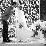 Groom and bride on wedding day. Royalty Free Stock Images