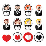 Groom and bride, wedding icons - black, blonde, ginger hair, brunette. Just married, newlywed couple  figurine icons - flat design Stock Photo