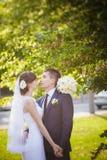 Groom bride wedding sunrise Stock Image