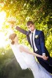 Groom bride wedding sunrise Royalty Free Stock Image