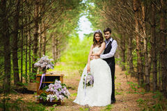 The groom with the bride in the wood with a lilac Royalty Free Stock Image