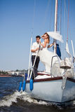 Groom and the bride on the yacht Stock Image