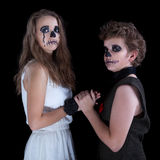 Groom and  bride -  zombie. Children have put on for Halloween Royalty Free Stock Photo