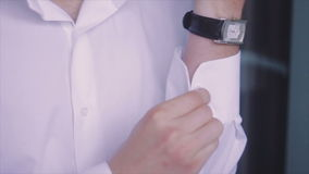 Groom Buttons Stud Cuff White Shirt stock video