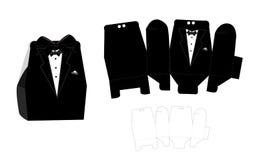 Groom candy die box. Vector diy box template. Tuxedo - wedding favor box.