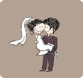 Groom carrying bride. Vector illustration of groom carrying bride Royalty Free Stock Photos