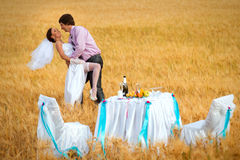 Groom is carrying bride on arms Royalty Free Stock Photo
