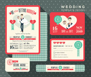 Groom carrying bride cartoon retro wedding invitation set design Royalty Free Stock Images