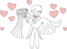 Groom carrying bride in his arms. Vector illustration. Stock Photography
