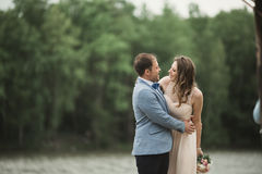 Groom carrying bride near lake and forest Royalty Free Stock Image