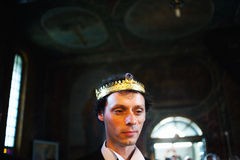 Groom in church Royalty Free Stock Image