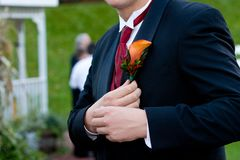 Groom corsage Stock Photos