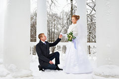 Groom declaration of love bride Royalty Free Stock Images