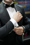 Groom dress. Man's style. dressing suit, shirt and cuffs Stock Photo