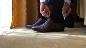 Groom dress shoes stock video