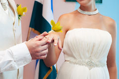 Groom dresses a ring on  finger to the bride Royalty Free Stock Images