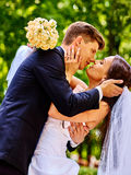Groom embrace bride Royalty Free Stock Image