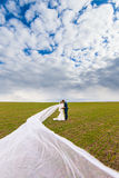 The groom embraces the bride, which has long veil flies through the air Royalty Free Stock Image