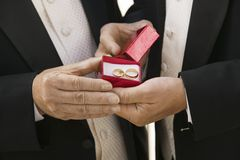 Groom and father holding wedding rings (close-up) Stock Images