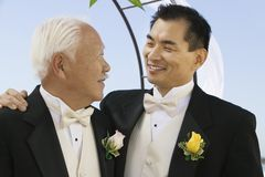 Groom with father outdoors (close-up) Royalty Free Stock Image