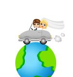 Groom with fiancee go in a trip on a car round earth Royalty Free Stock Images