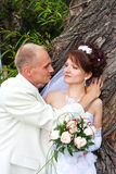 Groom and fiancee in a park. At the barrel of tree Royalty Free Stock Photos