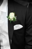 Groom with flower on lapel stock photography