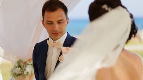Groom in front of the bride stock video footage
