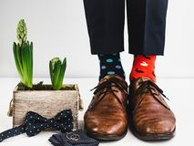 Groom, funny socks, rings, flower and bow tie stock image
