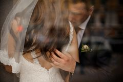 Groom gently stroking his bride on her back and hair Stock Image