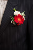 Groom with gerbera boutonniere. Wedding day Royalty Free Stock Photo