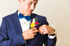 Groom getting ready Royalty Free Stock Photo
