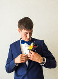 Groom getting ready Royalty Free Stock Photography