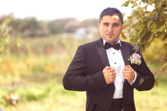 Groom getting ready for his wedding day Royalty Free Stock Photo