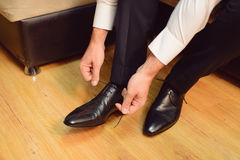 Groom Getting Ready at Home Royalty Free Stock Image