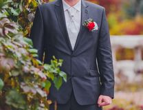 Groom getting ready in suit Stock Images