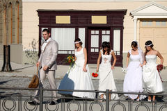 Groom and girls Royalty Free Stock Photos
