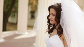 Groom goes near bride stock footage