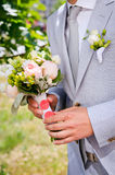 Groom in a gray suit Royalty Free Stock Photo
