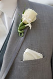 Groom in grey suit wearing a boutonniere Royalty Free Stock Images