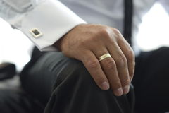 Groom hand with wedding ring Royalty Free Stock Photo