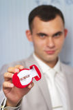 Groom holding a box with rings Royalty Free Stock Image