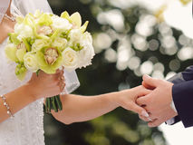 Groom Holding Bride's Hand Stock Images