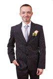 Groom holding hand in his pocket. Isolated in white Royalty Free Stock Images