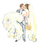 The groom holding his bride on his arms and kissing. Hand painting watercolor illustration, the groom holding his bride on his arms and kissing Stock Photos
