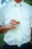 Groom holding wedding champagne glasses. closeup Royalty Free Stock Photo